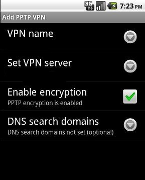 Configure Google Android nexus one or Motorola Droid mobile phones with SUPERFREEVPN.COM free pptp VPN account